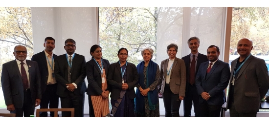 PR/Ambassador Mr. Rajiv K. Chander with Hon'ble Kerala Health Minister Mrs. K. K. Shailaja Teacher and members of her delegation at WHO (Geneva, 22 November 2019)