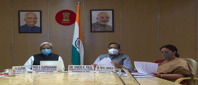 High-level delegation of India comprising Prof. Dr. Vinod K. Paul (Member, Niti Aayog), Prof. Dr. K. Vijayraghavan (Pr. Scientific Advisor) and Dr. Renu Swarup, Secretary, DBT participating in the inaugural WHO ACT-A Facilitation Council meeting (10 September 2020, Virtual)