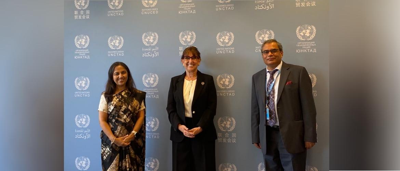 Secretary (West) Smt. Reenat Sandhu met Secretary General UNCTAD Ms. Rebeca Grynspan on 14 September 2021 in Geneva