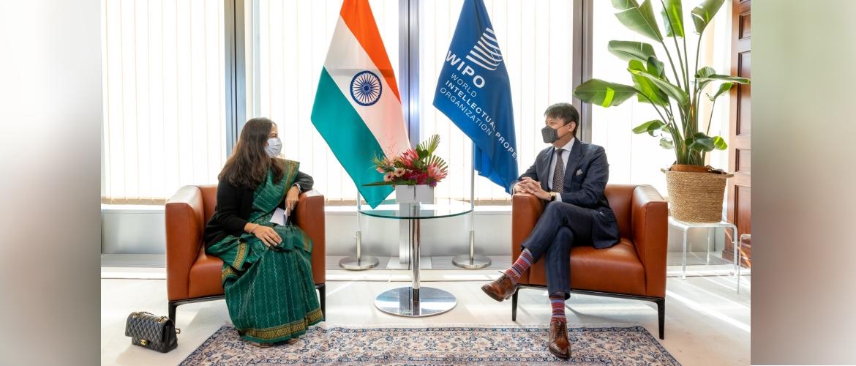 Secretary (West) Smt. Sandhu met Director General  WIPO Mr. Daren Tang 13 September 2021 in Geneva