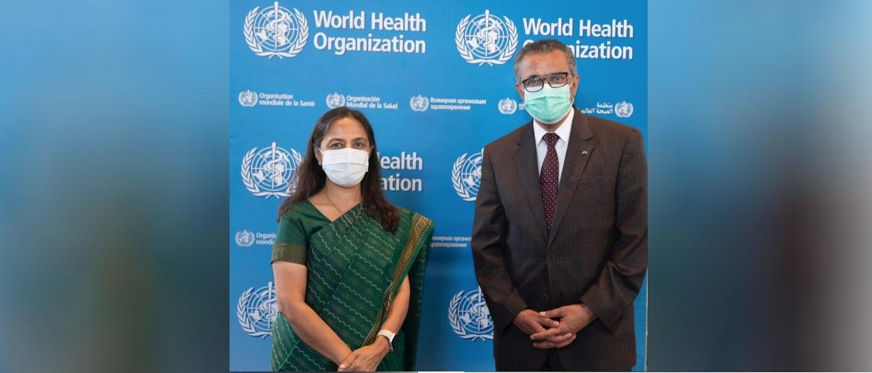 Secretary (West) Smt. Sandhu met Director General  WHO Mr. Tedros Ghebreyesus on 13 September 2021 in Geneva