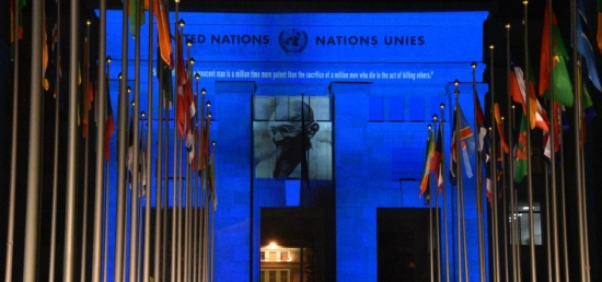 Celebration of 150th Birth Anniversary of Mahatma Gandhi: Projection of the Mahatma in the United Nations premises in Geneva, 02nd October 2019