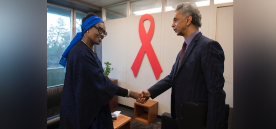Ambassador Mr. Rajiv K. Chander, Permanent Representative to U.N. meets with the new Executive Director, UNAIDS Ms. Winnie Byanyima during the 45th PCB meeting (Geneva, 10 December 2019)
