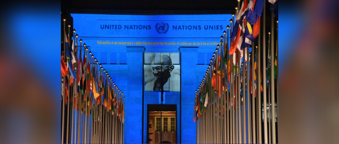 LED Projection in UN Geneva to commemorate the 150th Birth Anniversary of Mahatma Gandhi, 01 October 2019
